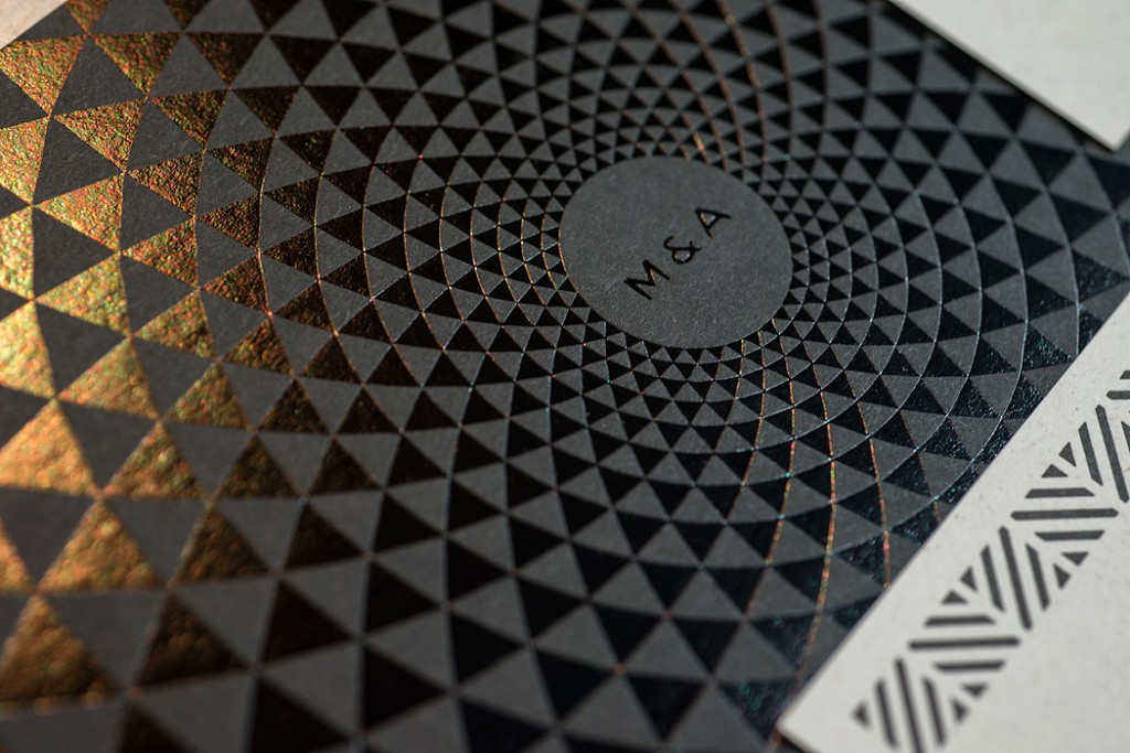 Detail of the invite back with black gloss foil on black paper stock.