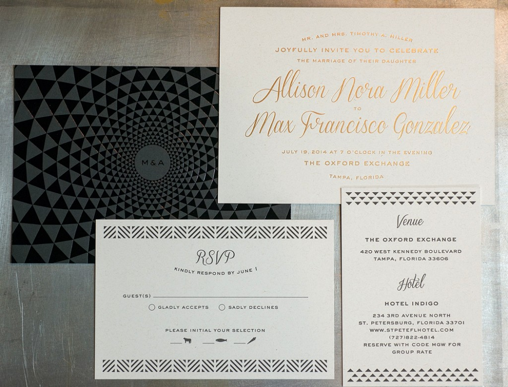 The wedding invitation suite utilized letterpress and foil stamping.