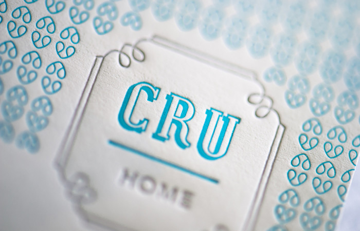 Cru Home Houston label design by Deuce Creative letterpress printed by Workhorse Printmakers, Houston, Texas