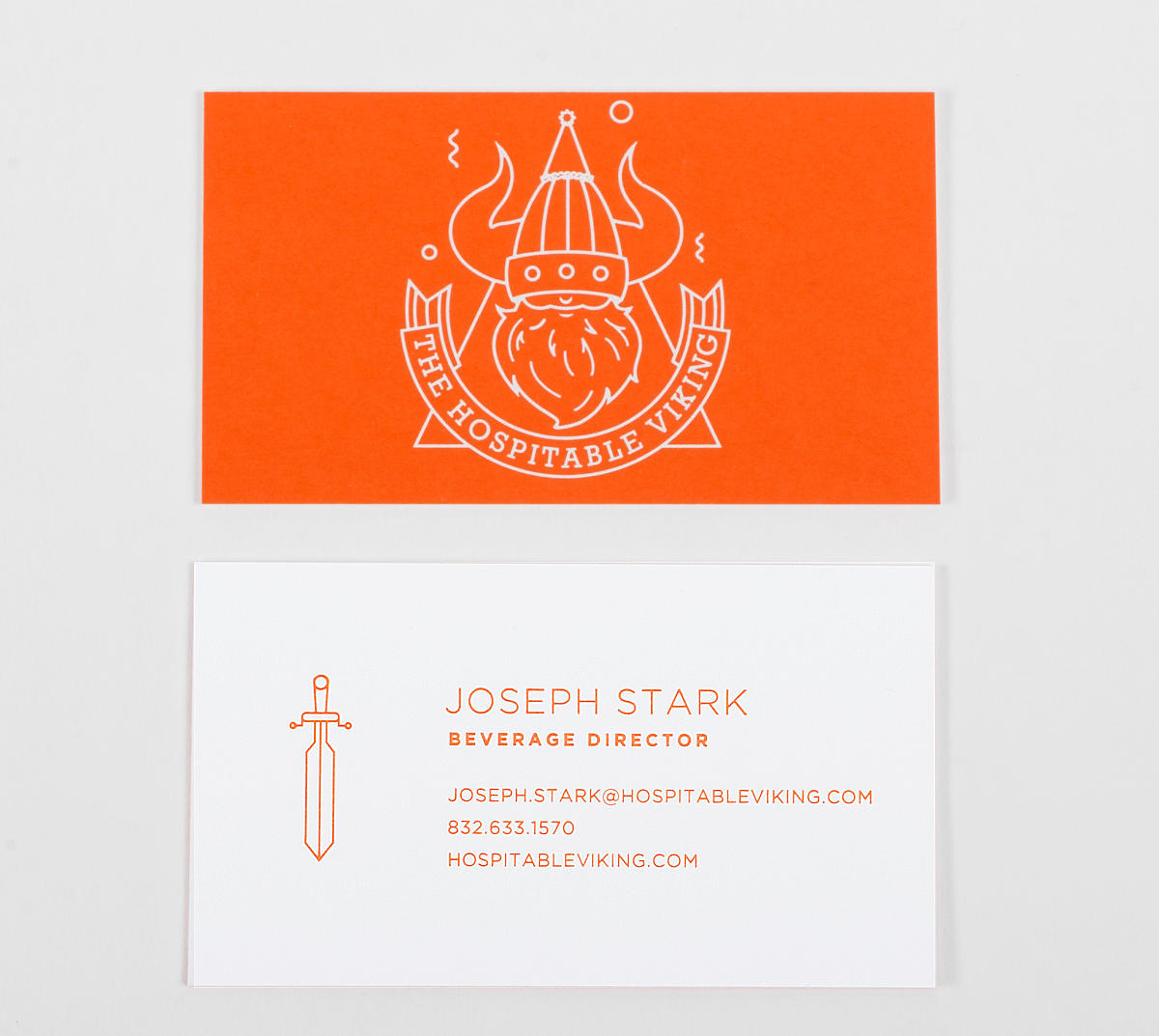 Hospitable Viking Letterpress foil stamping business cards | Workhorse Printmakers | Houston, Austin, Dallas, San Antonio, Texas