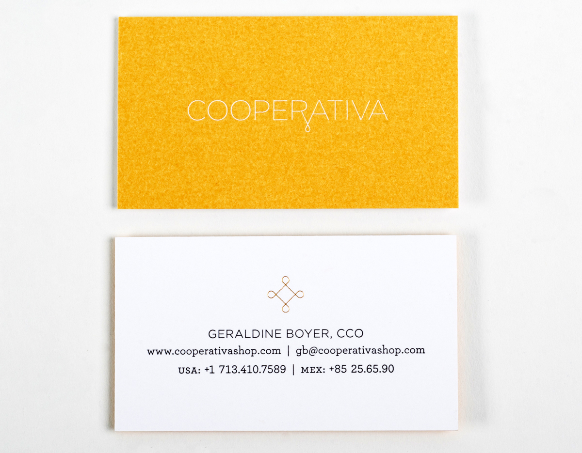 Cooperativa Letterpress foil stamping business cards | Workhorse Printmakers | Houston, Austin, Dallas, San Antonio, Texas