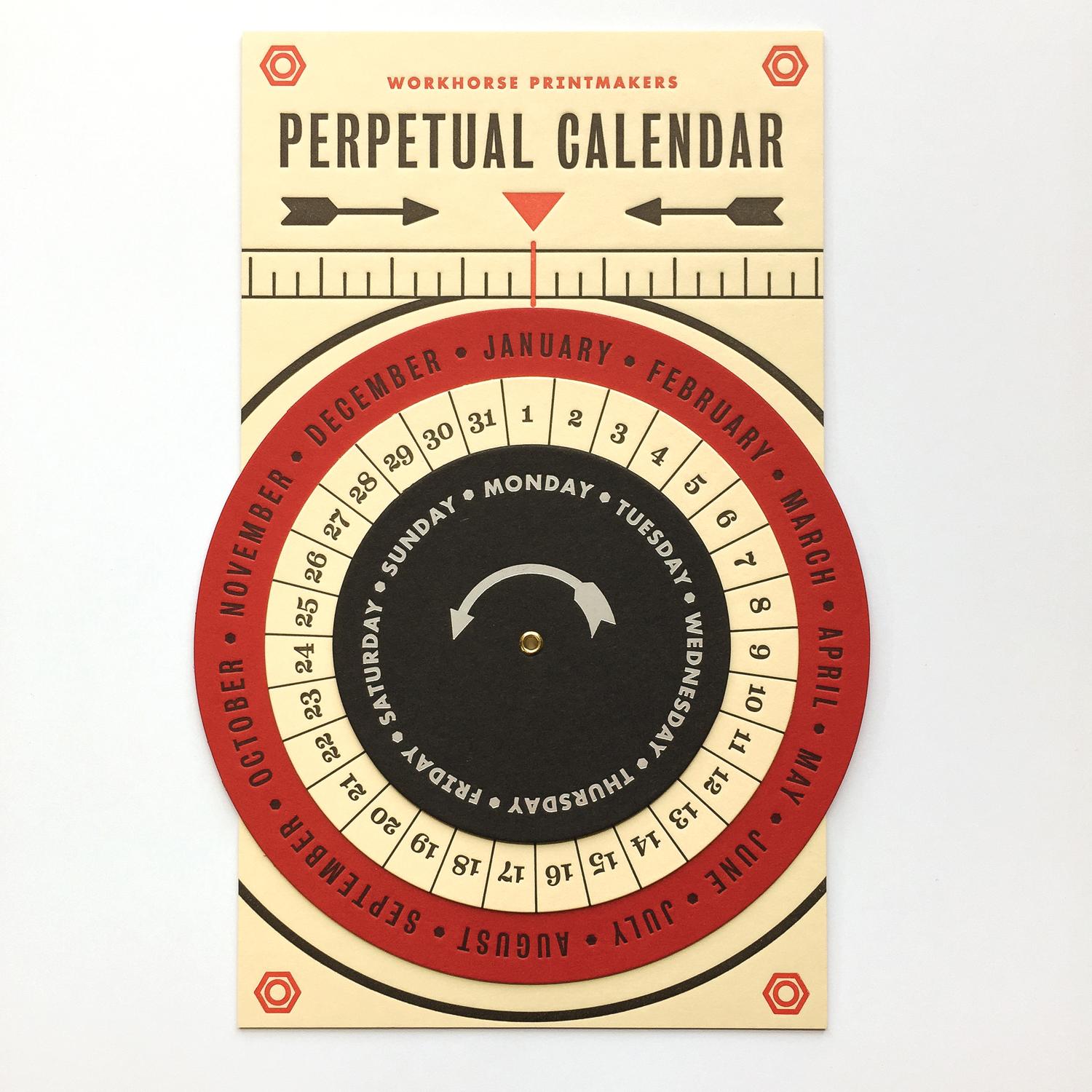 Workhorse Printmakers Perpetual Calendar with letterpress and foil stamping on French Paper Co and Neenah Paper
