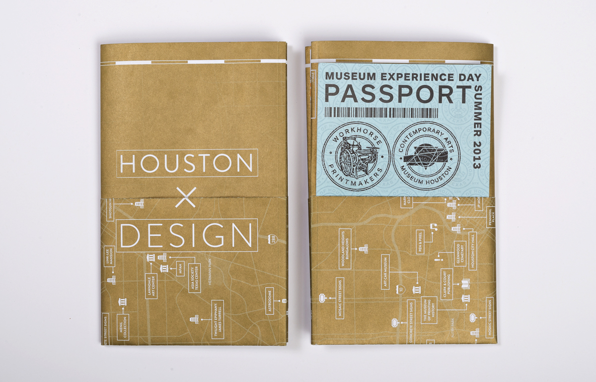 Front and back of the 'bookcover' which is made of a folded down poster. The exterior has a pocket to hold a letterpress printed passport sheet that is stamped