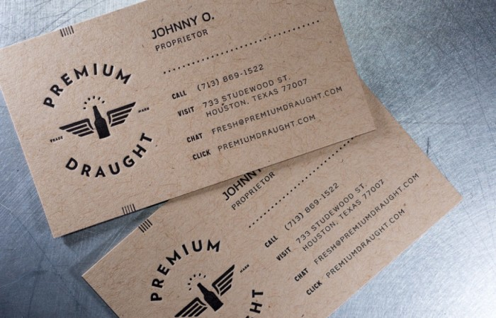 Premium Draught business cards designed by Always Creative letterpress printed by Workhorse Printmakers, Houston, Texas