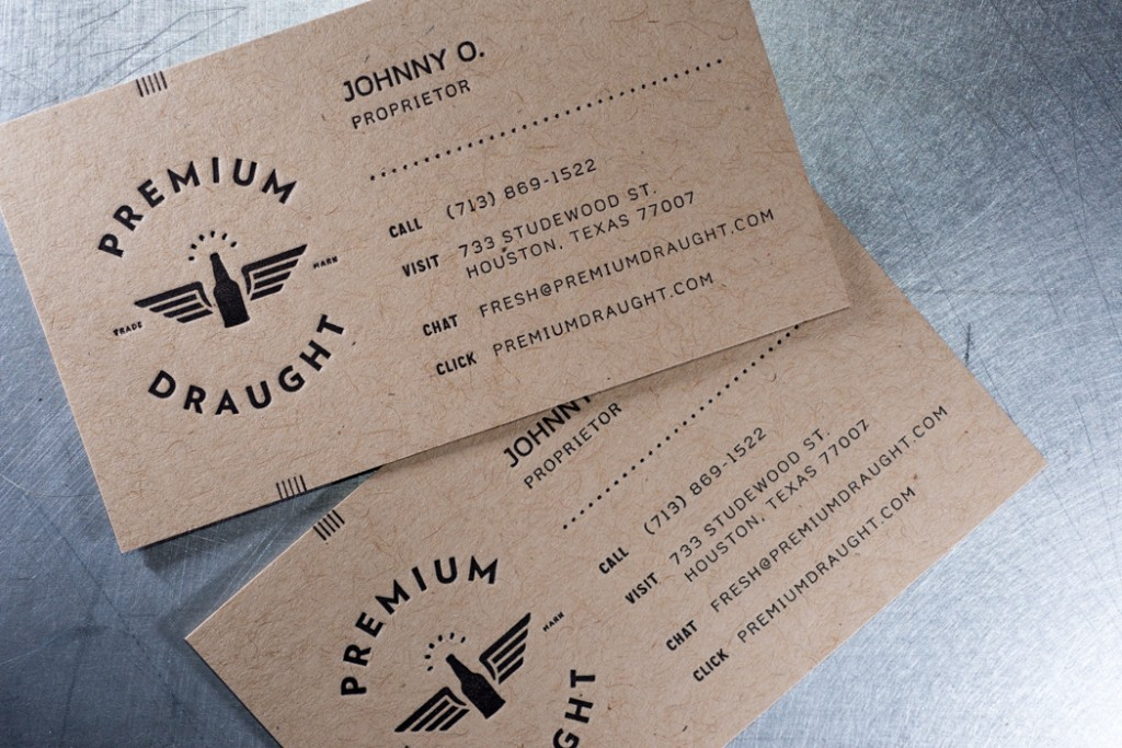 Premium Draught letterpress business cards | Workhorse Printmakers ...