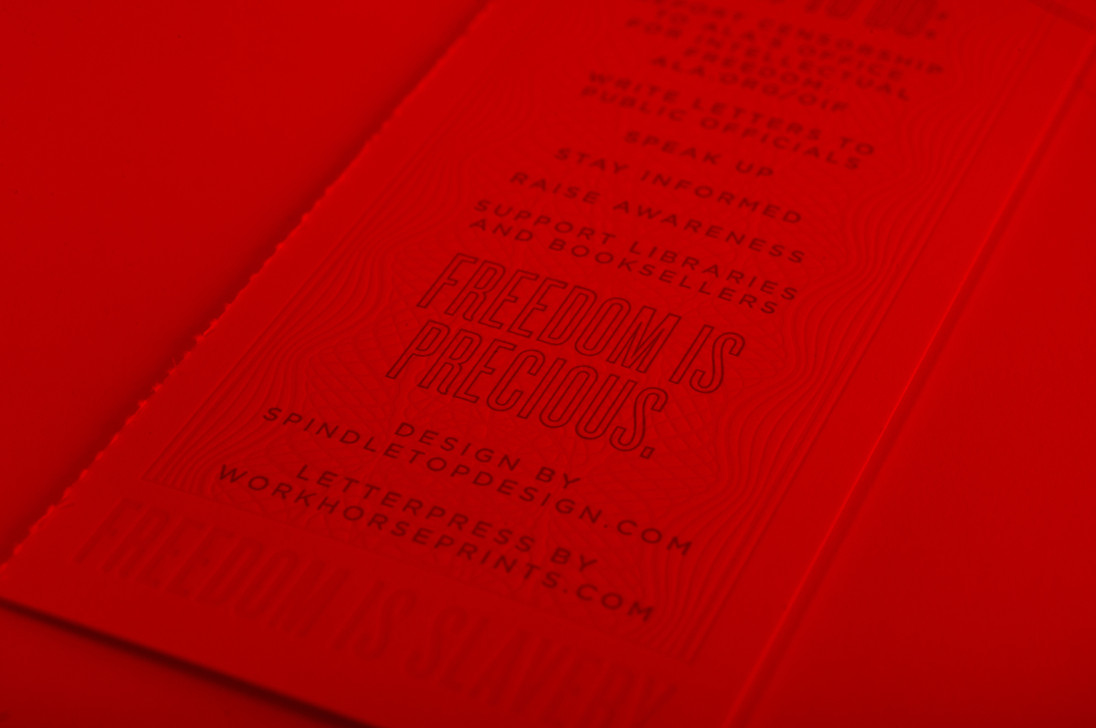 Letterpress printed Banned Books 2014 Decoder Print for Brazos Bookstore by Workhorse Printmakers