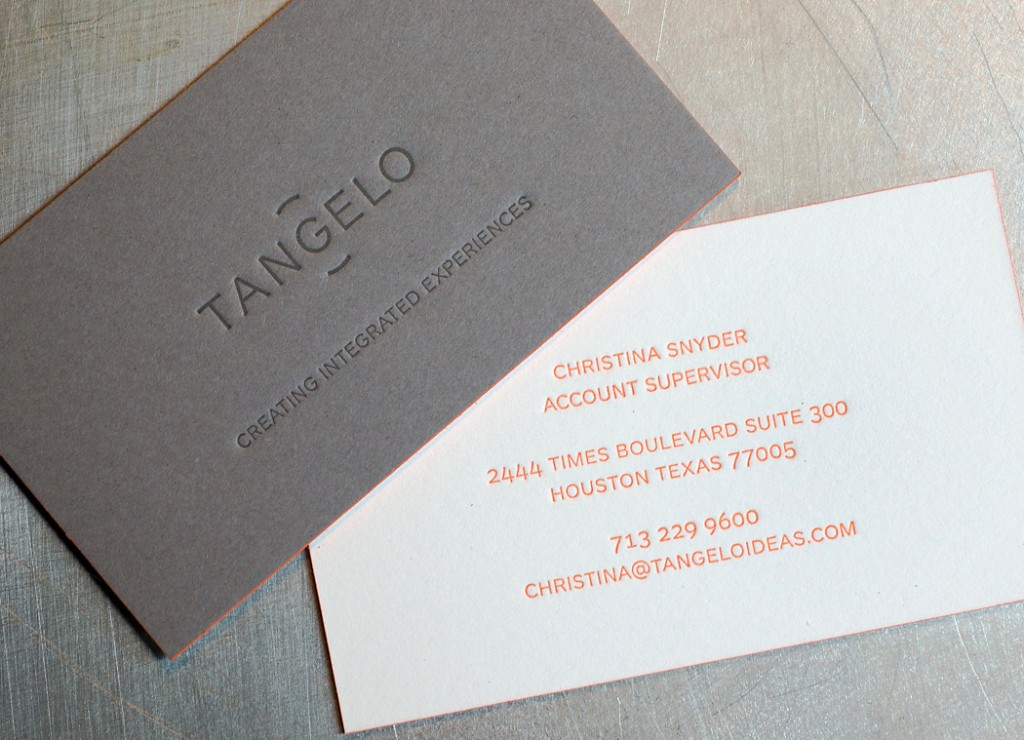 Tangelo Ideas letterpress business cards | Workhorse Printmakers ...