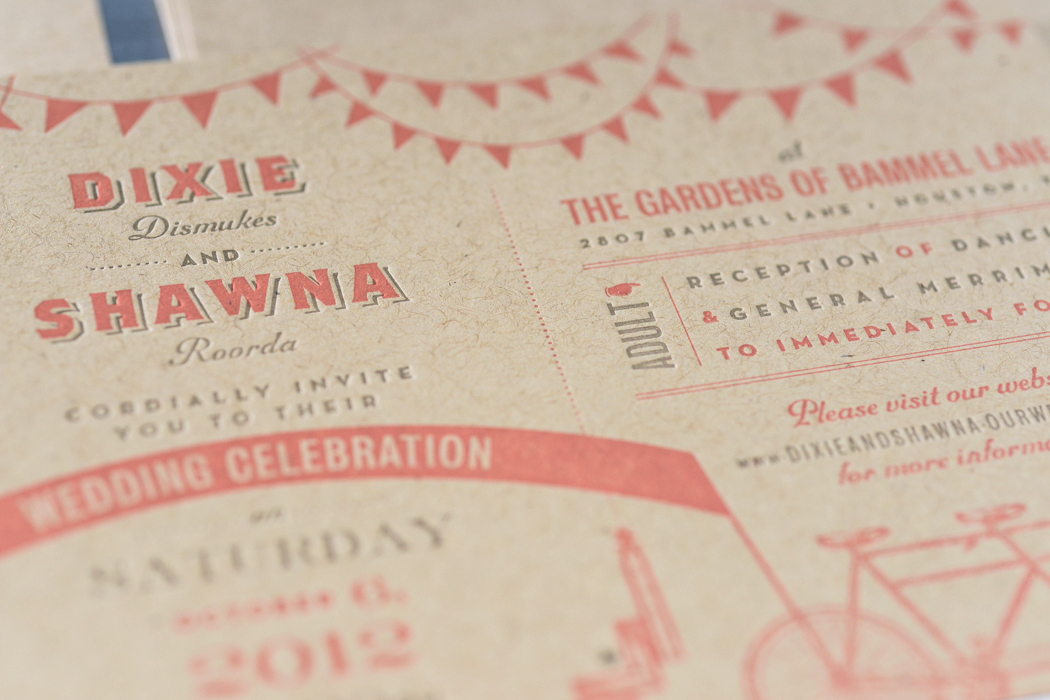 Detail of the wedding invitation with vintage design elements.
