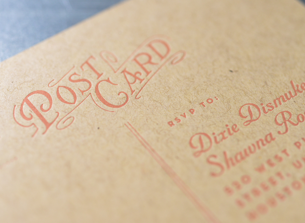 Detail of the letterpress printed postcard, with typography inspired by the 1920s.