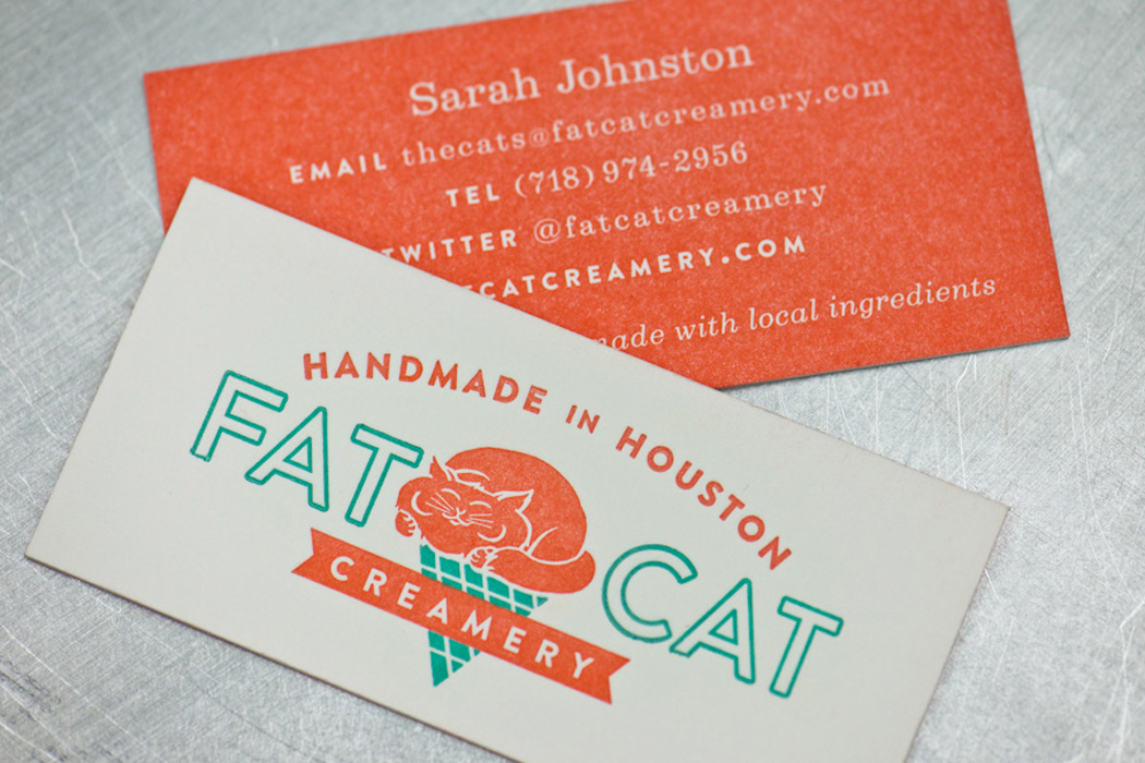 Fat Cat Creamery letterpress business cards | Workhorse Printmakers ...