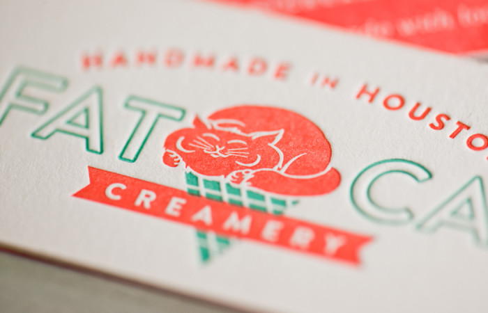 Fat Cat Creamery printed business cards, design by Spindletop Design, Letterpress printing by Workhorse Printmakers, Houston, Texas