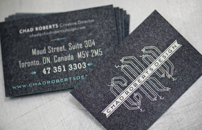 Chad Roberts Design business cards, design by Chad Roberts Design, Letterpress printed by Workhorse Printmakers, Houston, Texas