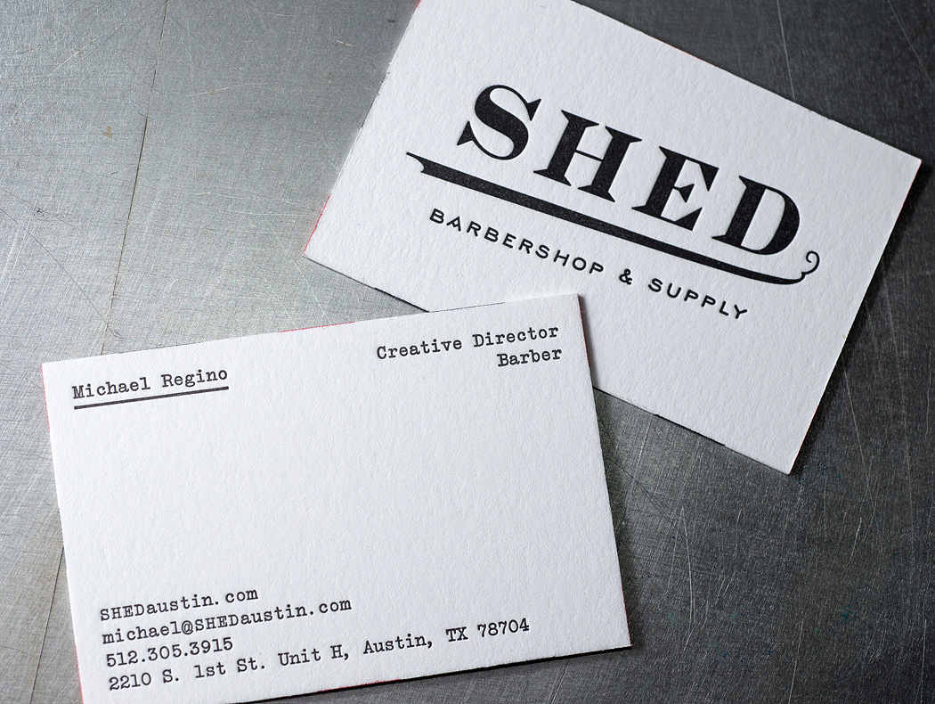 Shed barbershop letterpress business cards workhorse printmakers front and backside of the business cards colourmoves