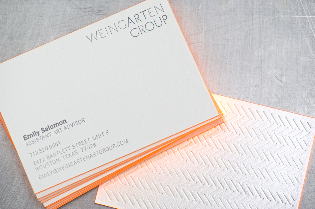 Weingarten Art Group letterpress business cards | Workhorse ...
