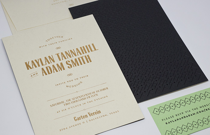 Letterpress and foil stamped wedding invitation | Custom Design | Workhorse Printmakers | Houston, Austin, Dallas, Texas