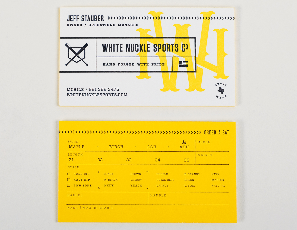 White Nuckle Sports Letterpress Business Cards | Workhorse Printmakers | Houston, Austin, Dallas, Texas
